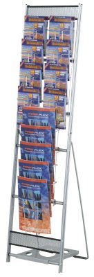 Media 13 Tower brochure dispenser combines 8 x A5 brochure dispensers and 5 x A4 brochure dispensers.