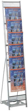 Media 6 Tower portable brochure displays for A4 brochures.