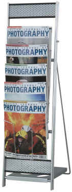 Media 5 Tower portable leaflet racks for A4 leaflets and brochures.