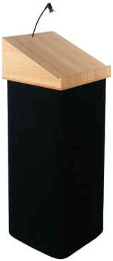 Portable podium lectern with fabric wrap.