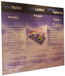 Uno telescopic banners can be connected to form linked banner stands to create a seamless graphic wall.